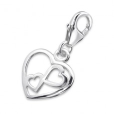 Double Heart - 925 Sterling Silver Charms with lobster A4S22391