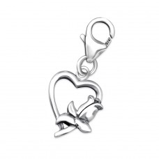 Heart - 925 Sterling Silver Charms with lobster A4S24587