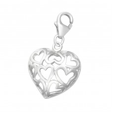 Heart - 925 Sterling Silver Charms with lobster A4S2809