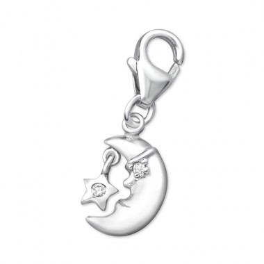Crescent Moon - 925 Sterling Silver Charms with lobster A4S3017