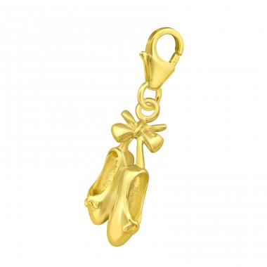 Golden ballerina Shoes - 925 Sterling Silver Charms With Lobster A4S42058