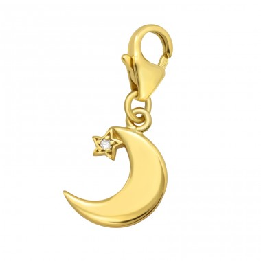Golden Crescent Moon with carabiner - 925 Sterling Silver Charms With Lobster A4S42059