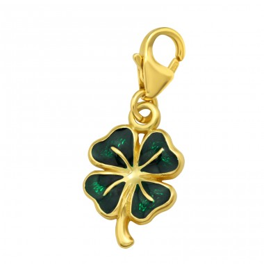 Golden Lucky clover with dark green color - 925 Sterling Silver Charms With Lobster A4S42062