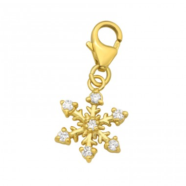 Golden Snowflake with carabiner - 925 Sterling Silver Charms With Lobster A4S42063