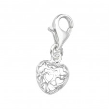 Filigree Heart - 925 Sterling Silver Charms with lobster A4S861