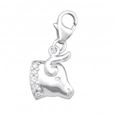 Taurus Zodiac Sign - 925 Sterling Silver Charms with lobster A4S9907