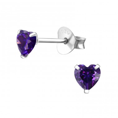 Heart 4mm - 925 Sterling Silver Basic Ear Studs A4S1004