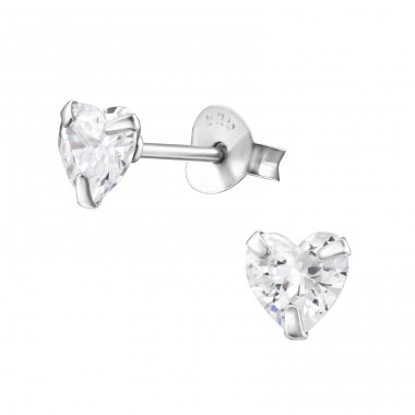 Heart 5mm - 925 Sterling Silver Basic Ear Studs A4S1005