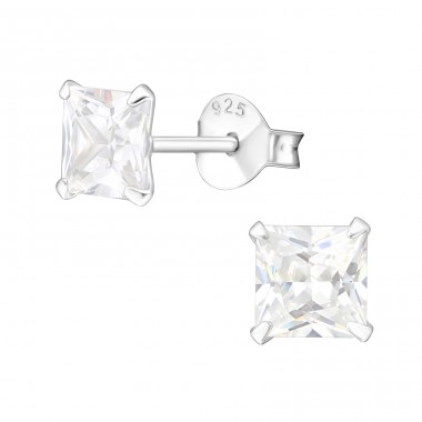 Square 5mm - 925 Sterling Silver Basic Ear Studs A4S1006