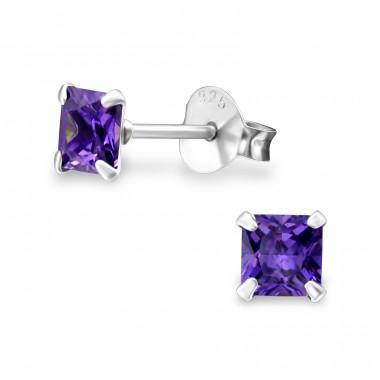 Square 4mm - 925 Sterling Silver Basic Ear Studs A4S1007