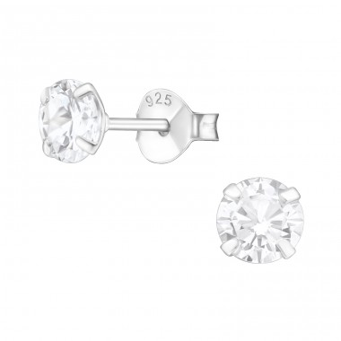 Round 5mm - 925 Sterling Silver Basic Ear Studs A4S1011