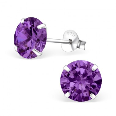 Round 8mm - 925 Sterling Silver Basic Ear Studs A4S1012