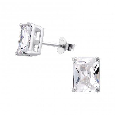 Baguette 6X8Mm - 925 Sterling Silver Basic Ear Studs A4S1017