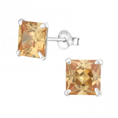 Square 8mm - 925 Sterling Silver Basic Ear Studs A4S1019