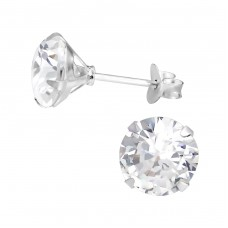 Round 8mm - 925 Sterling Silver Basic Ear Studs A4S1020