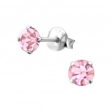 Round 4mm - 925 Sterling Silver Basic Ear Studs A4S1024