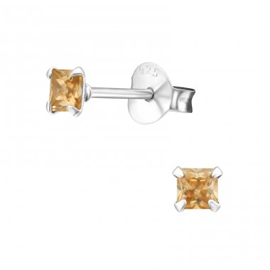 Square 3mm - 925 Sterling Silver Basic Ear Studs A4S10386
