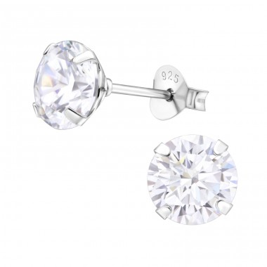 Round 7mm - 925 Sterling Silver Basic Ear Studs A4S11610