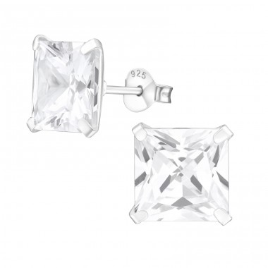 Square 9mm - 925 Sterling Silver Basic Ear Studs A4S12158