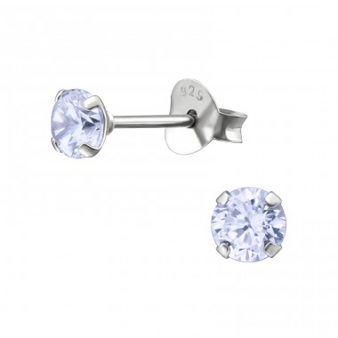 Round 4mm - 925 Sterling Silver Basic Ear Studs A4S13340