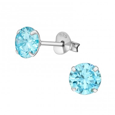 Round 6mm - 925 Sterling Silver Basic Ear Studs A4S13341