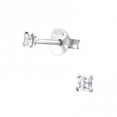 Square 2mm - 925 Sterling Silver Basic Ear Studs A4S13345