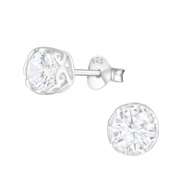 Round 5mm - 925 Sterling Silver Basic Ear Studs A4S14417