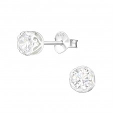 Round 4mm - 925 Sterling Silver Basic Ear Studs A4S14418