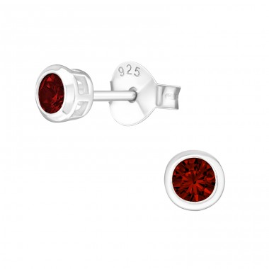 Round 3mm - 925 Sterling Silver Basic Ear Studs A4S14420