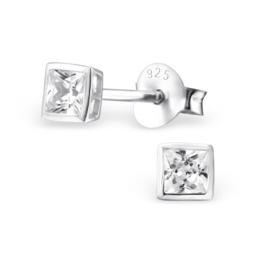 Square 3mm - 925 Sterling Silver Basic Ear Studs A4S14423