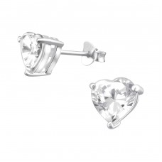 Heart 7mm - 925 Sterling Silver Basic Ear Studs A4S14827