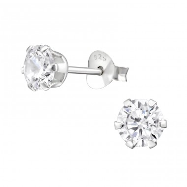 Round 5mm - 925 Sterling Silver Basic Ear Studs A4S14832