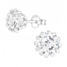 Round 7mm - 925 Sterling Silver Basic Ear Studs A4S14833