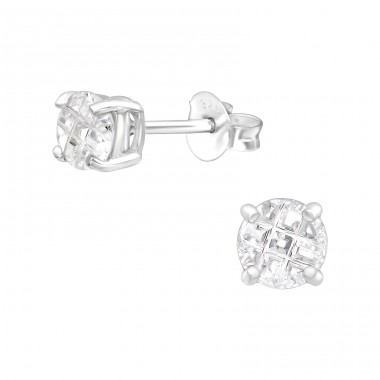Round 5mm - 925 Sterling Silver Basic Ear Studs A4S15125