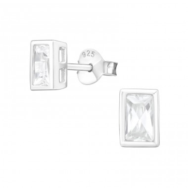 Baguette 4X6Mm - 925 Sterling Silver Basic Ear Studs A4S15126