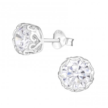 Round 7mm - 925 Sterling Silver Basic Ear Studs A4S15506