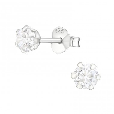 Round 4mm - 925 Sterling Silver Basic Ear Studs A4S15518