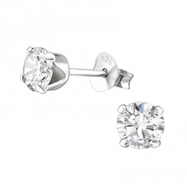 Round 4mm - 925 Sterling Silver Basic Ear Studs A4S15520