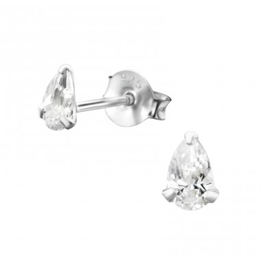Pear 3X5Mm - 925 Sterling Silver Basic Ear Studs A4S15983