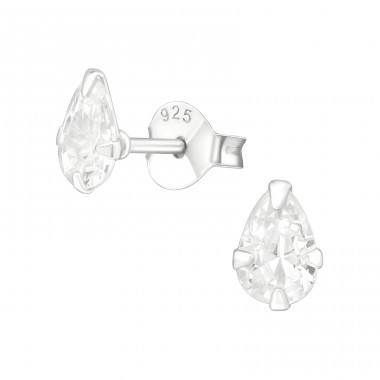 Pear 4X6Mm - 925 Sterling Silver Basic Ear Studs A4S15986