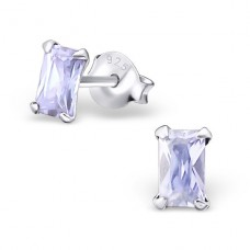 Baguette 3X5Mm - 925 Sterling Silver Basic Ear Studs A4S15989