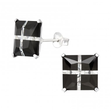 Square 10mm - 925 Sterling Silver Basic Ear Studs A4S16161