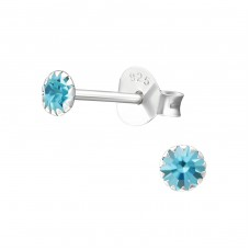 Round 4mm - 925 Sterling Silver Basic Ear Studs A4S1666