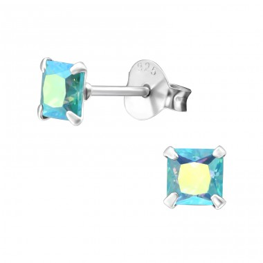 Square 4mm - 925 Sterling Silver Basic Ear Studs A4S16715