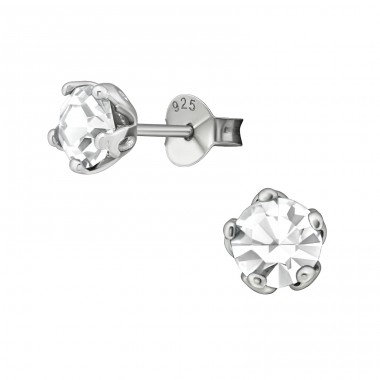 Round 6mm - 925 Sterling Silver Basic Ear Studs A4S17271