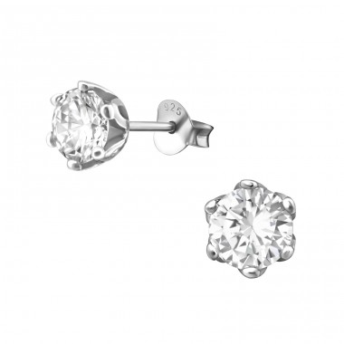 Round 7mm - 925 Sterling Silver Basic Ear Studs A4S17272