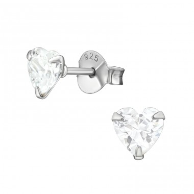 Heart - 925 Sterling Silver Basic Ear Studs A4S17518