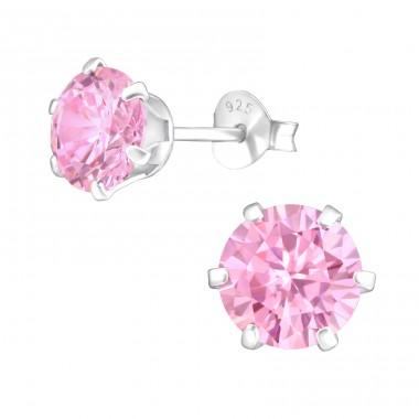 Round 7mm - 925 Sterling Silver Basic Ear Studs A4S17525