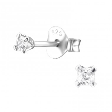 Square 2mm - 925 Sterling Silver Basic Ear Studs A4S17526