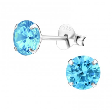 Round 6mm - 925 Sterling Silver Basic Ear Studs A4S17973